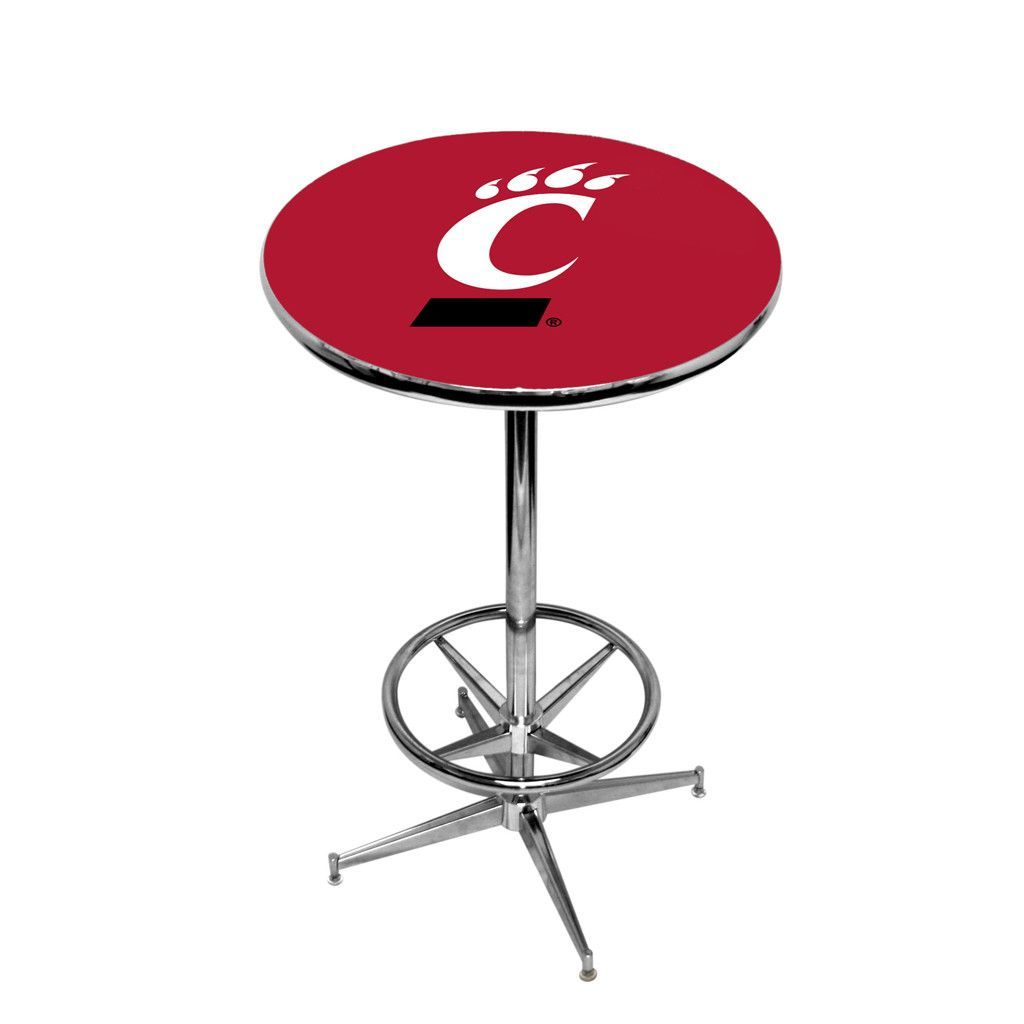 Cincinnati Bearcats Red Pub Table w/ Chrome Foot Ring Base