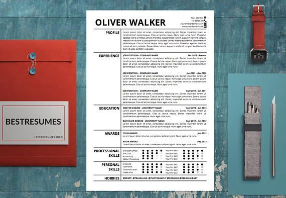 Modern Resume Template, Simple Resume Template, Classic Resume - download resume template