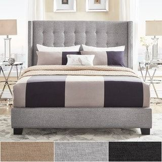 Melina Tufted Linen Wingback Bed By Inspire Q Bold