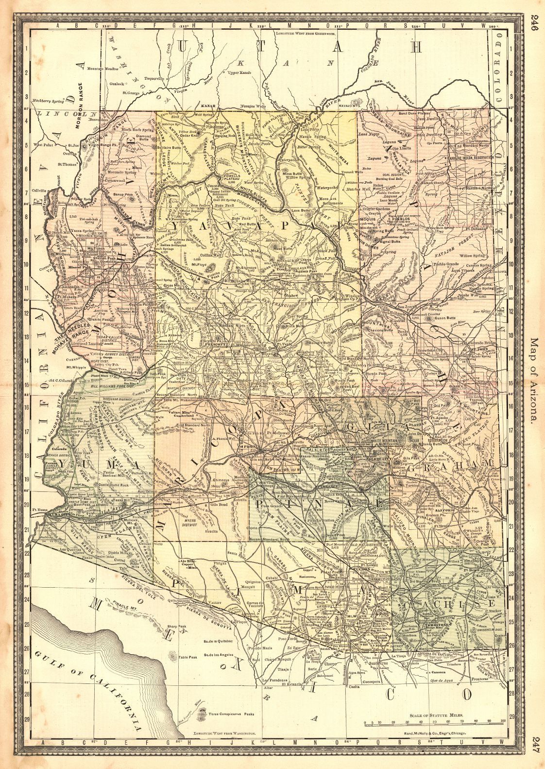 County Map Of Arizona And New Mexico Mitchell SA Tucson - Map of arizona and new mexico