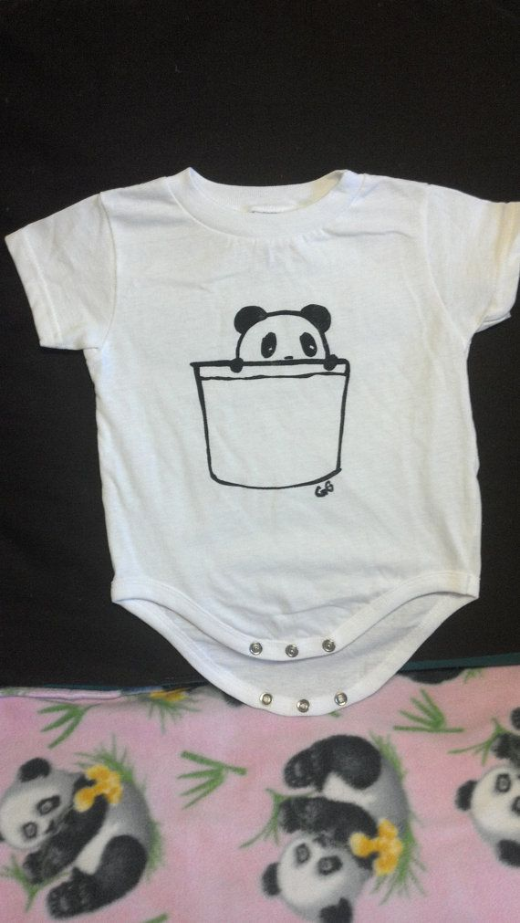 Panda Pocket Baby Onesie by GingyCake on Etsy, $13.50; the design is cute with the pocket don't ya think?