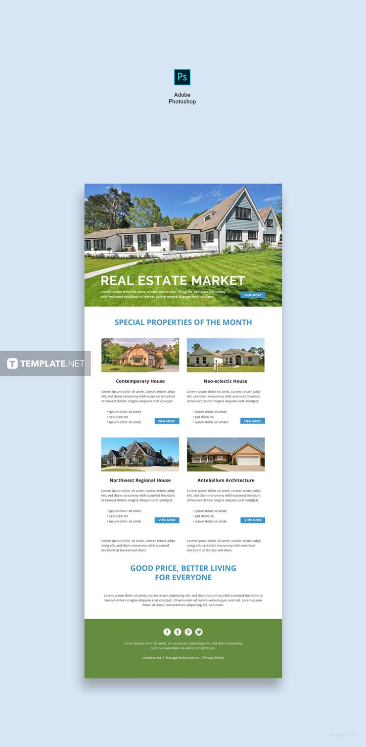 Free Monthly Real Estate Email Newsletter Template Psd Html5 Outlook Newsletter Templates Email Newsletter Template Newsletter Template Free