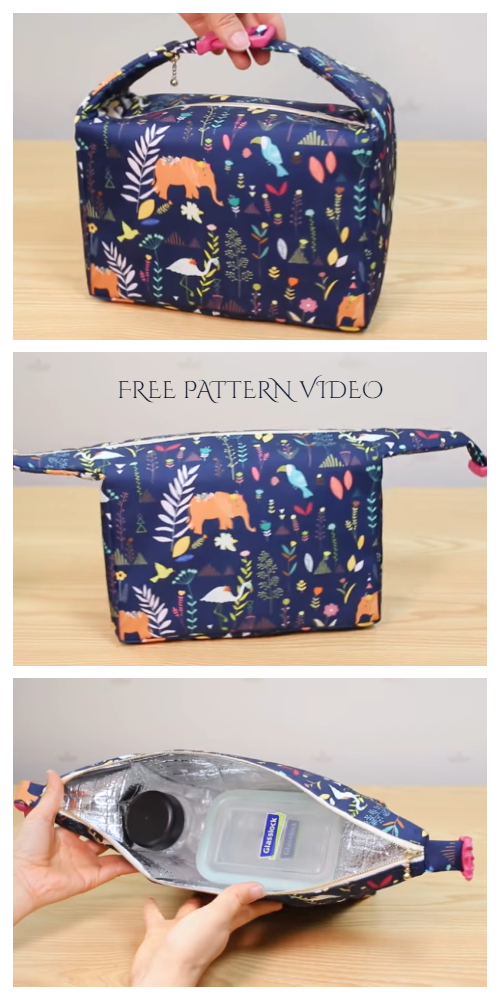 DIY Insulated Fabric Lunch Bag Free Sewing Pattern + Video | Fabric Art DIY