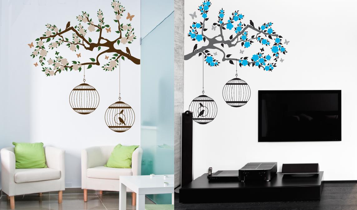Rama con Flores, Hojas, Jaulas y Pajaritos - Calcarte Dale vida a tus paredes!