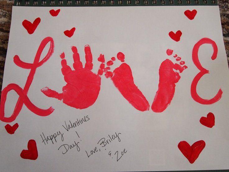 Toddler Birthday Cards For Daddy Valentines Handprint Footprint
