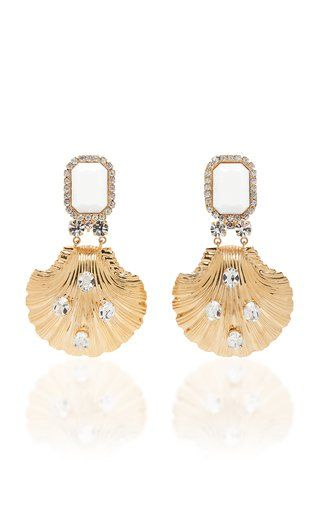 fd76b281f4 White And Gold Seashell Clip Earrings by Alessandra Rich SS19 ...