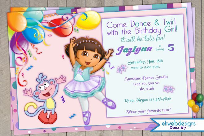 dora the explorer birthday invitation - dora ballerina birthday, Birthday invitations