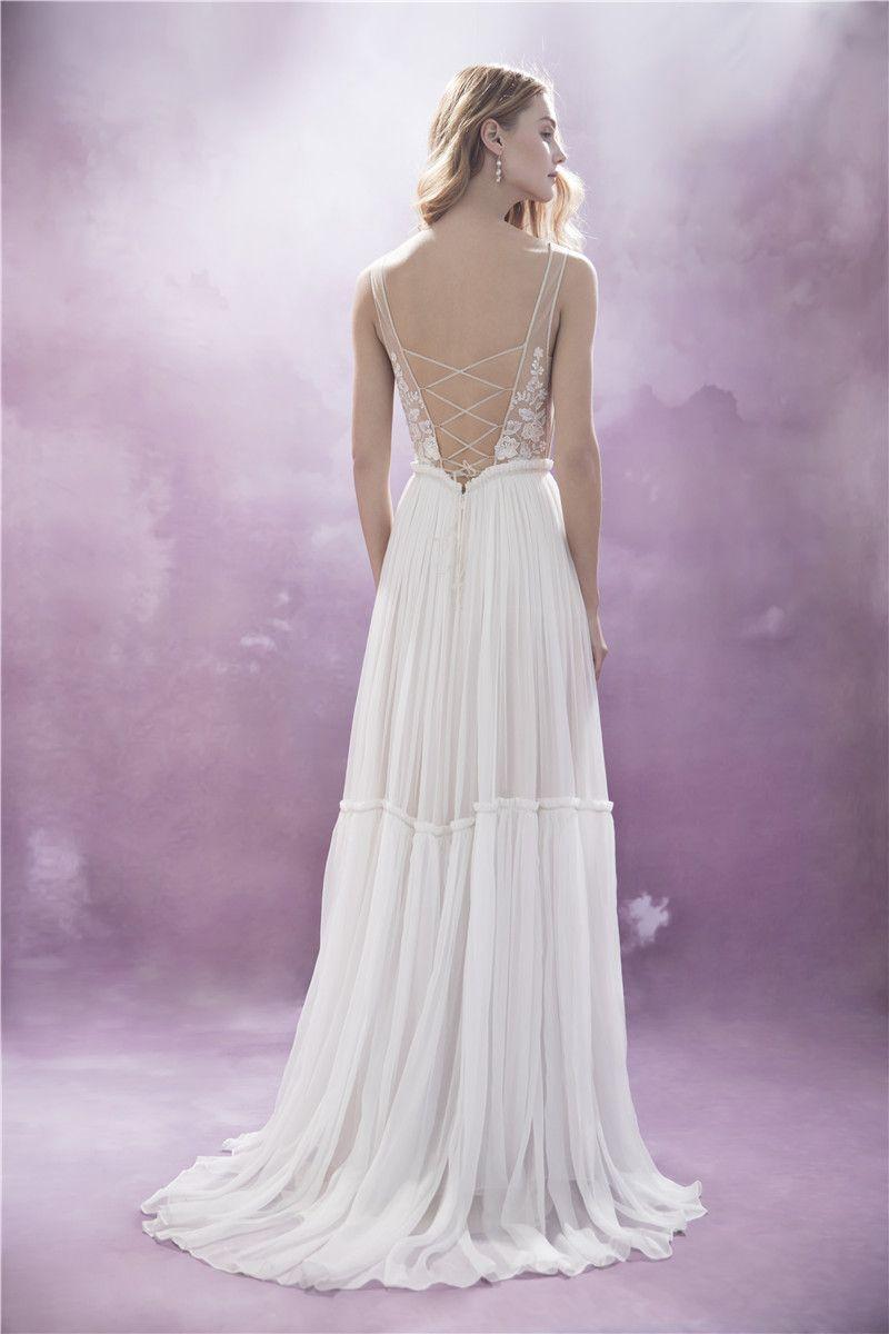 Tie up back wedding dress flowy wedding dress boho wedding dress