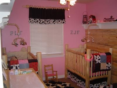Pretty Pink Rustic Cow Nursery For Twin S With Print Crib Quilts And Baby Bedding