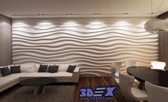 decorative 3d gypsum wall panels, plaster waves paneling design ...
