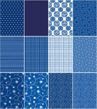 3 Yards Quilt Fabric China Shop Blue White Fat Quarter Medley Navy ... : quilting fabrics supplies - Adamdwight.com