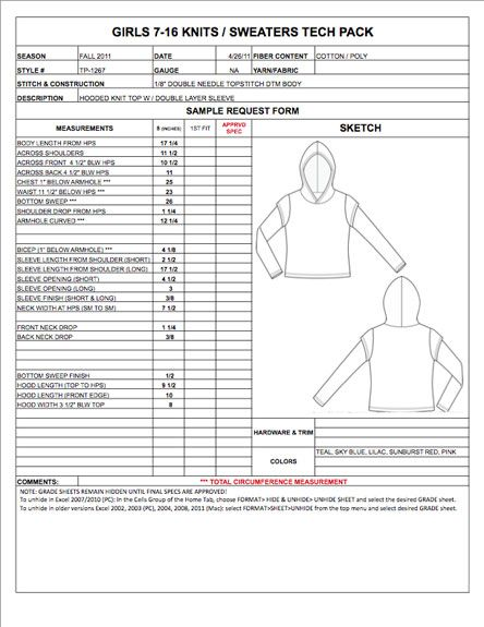 Pin by Jay Jay on techplan Pinterest Apparel design, Tech and - sample specification sheet template example