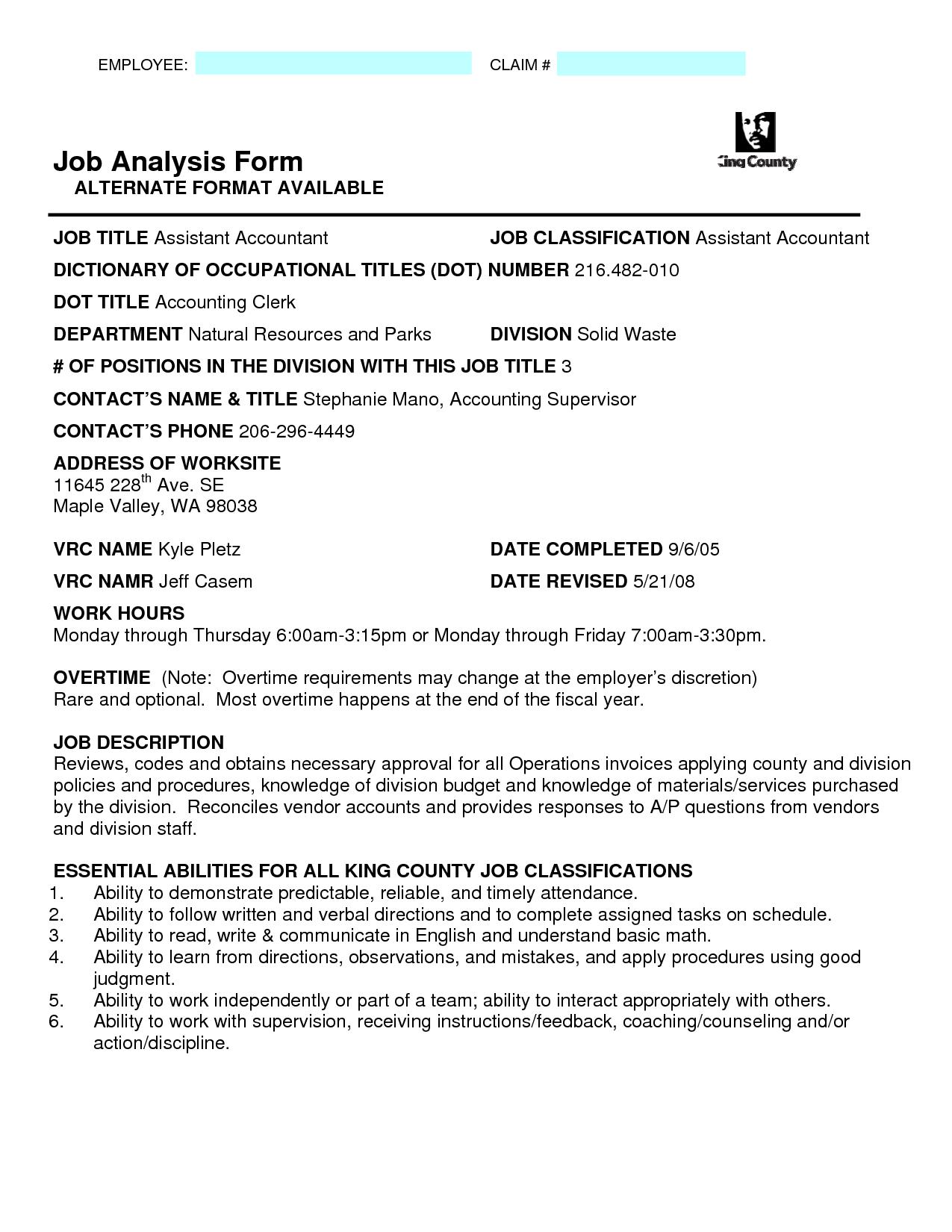 Job Analysis Forms Job Analysis Forms Pinterest Job