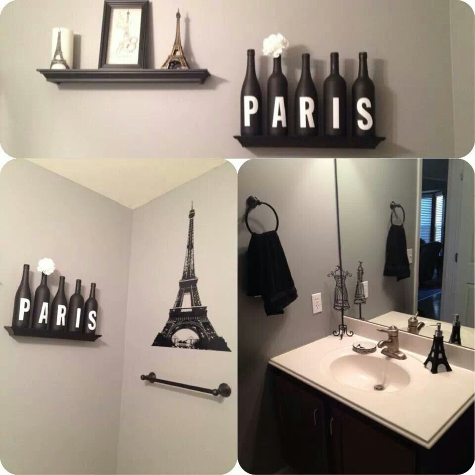 Paris bathroom decor eiffel tavern bar pinterest for Space themed bathroom accessories