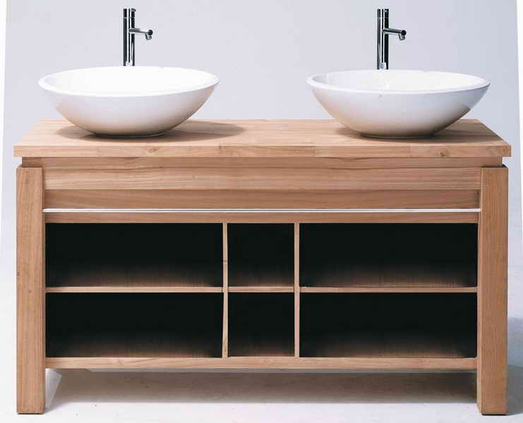 Meuble double vasque vial viers de cuisine cuisines - Double evier salle de bain ...