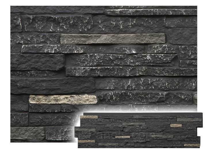 Windsor Stacked Stone Volcanic Gray Panel W 46 1 2 H 13 1 8 1 1 2 Thick Stacked Stone Stacked Stone Panels Stone Panels