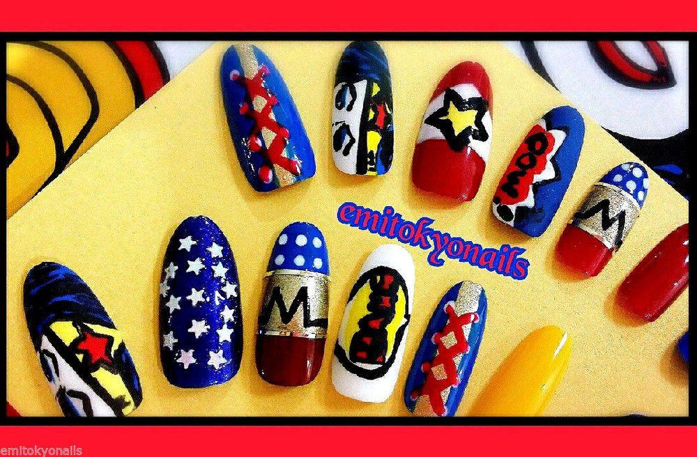 Kawaii,Stiletto Nails,Wonder Woman,Press on Nails,Hand painted False ...