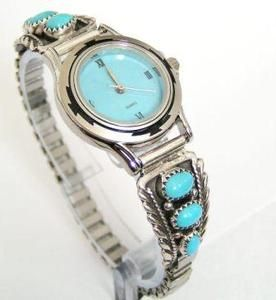 Women's Sterling Silver Watch Tips with Turquoise Stone Watch Face Four Corners USA Jewelry by Native American Navajo Silversmith Etta Larry