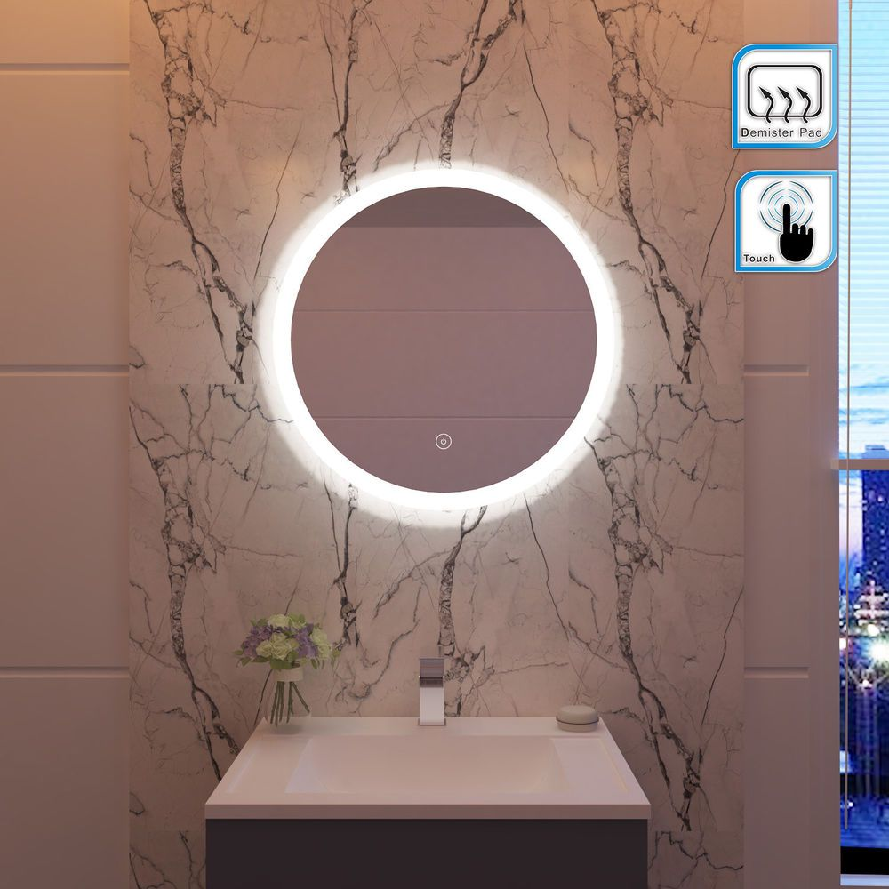 Modern Backlit Round Led Illuminated Bathroom Mirror Light Touch