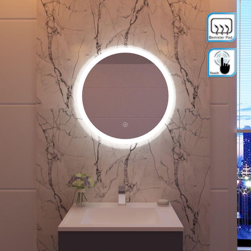 Modern Backlit Round Led Illuminated Bathroom Mirror Light Touch