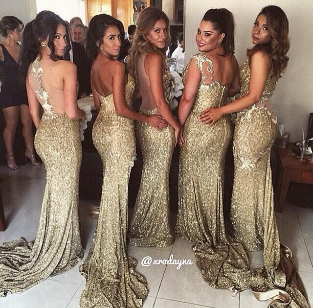 Flawless maids of honor : gold dresses (Back)