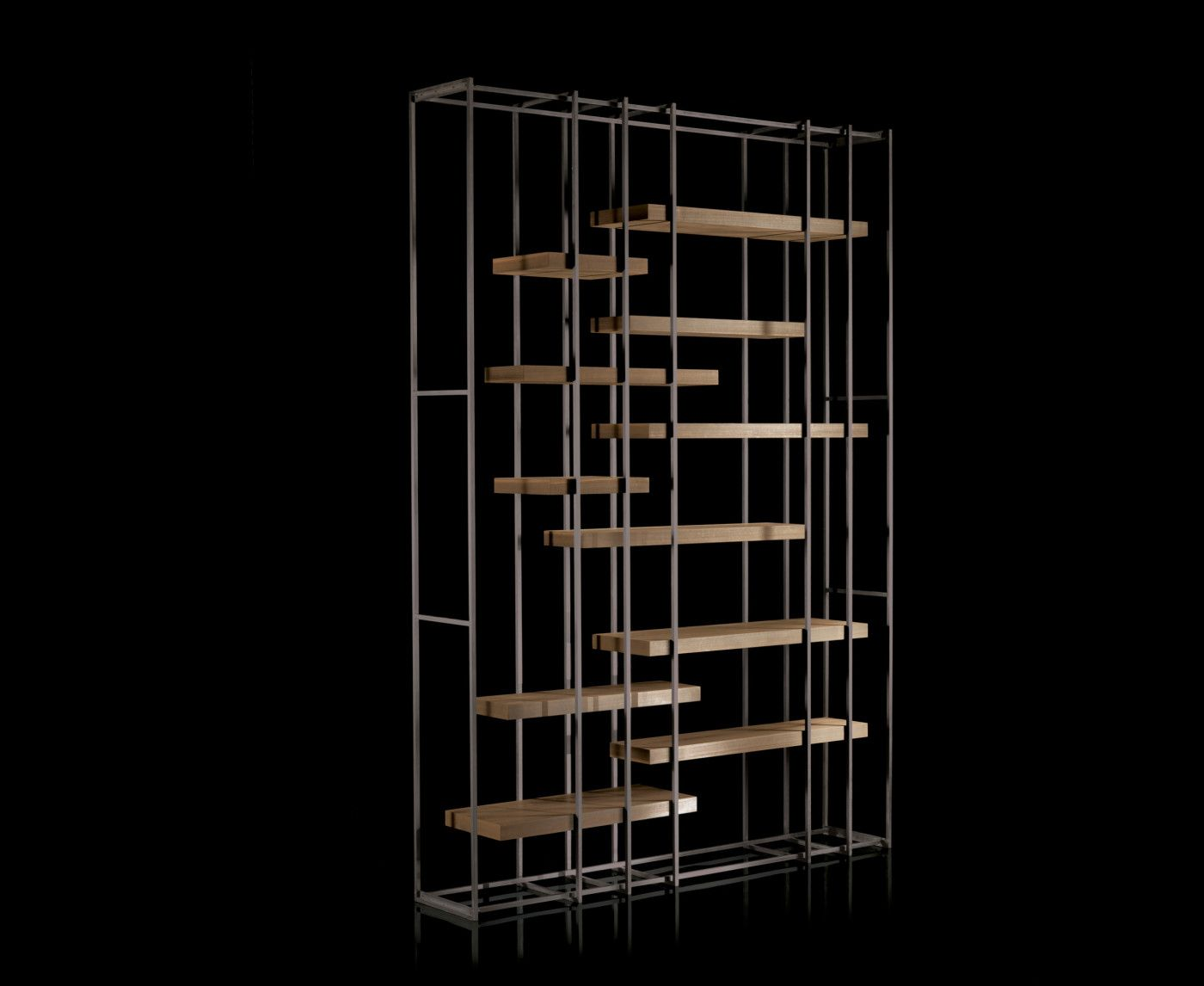 Henge Cage B Brass Metal Frame Bookshelf Designed By Massimo Castagna