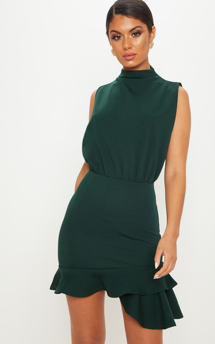 1b18cb89a8 Emerald Green High Neck Frill Hem Bodycon Dress | Clothes | Dresses ...