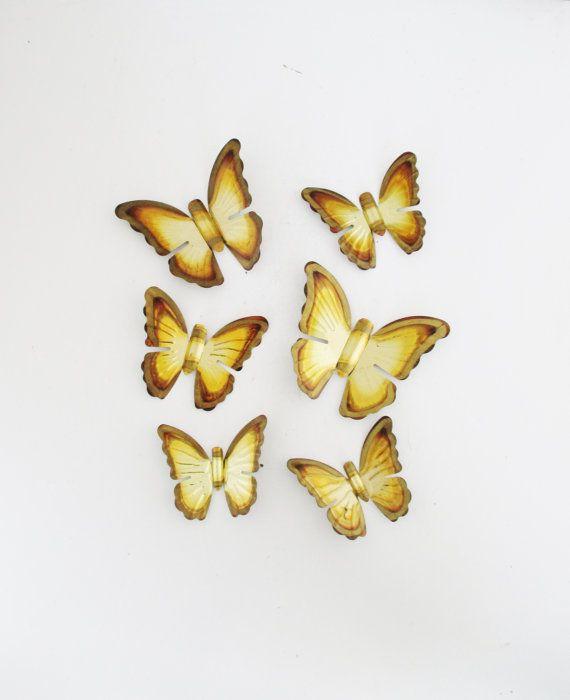 Vintage Brass Butterfly Wall Hanging 6 Brass Butterflies ...