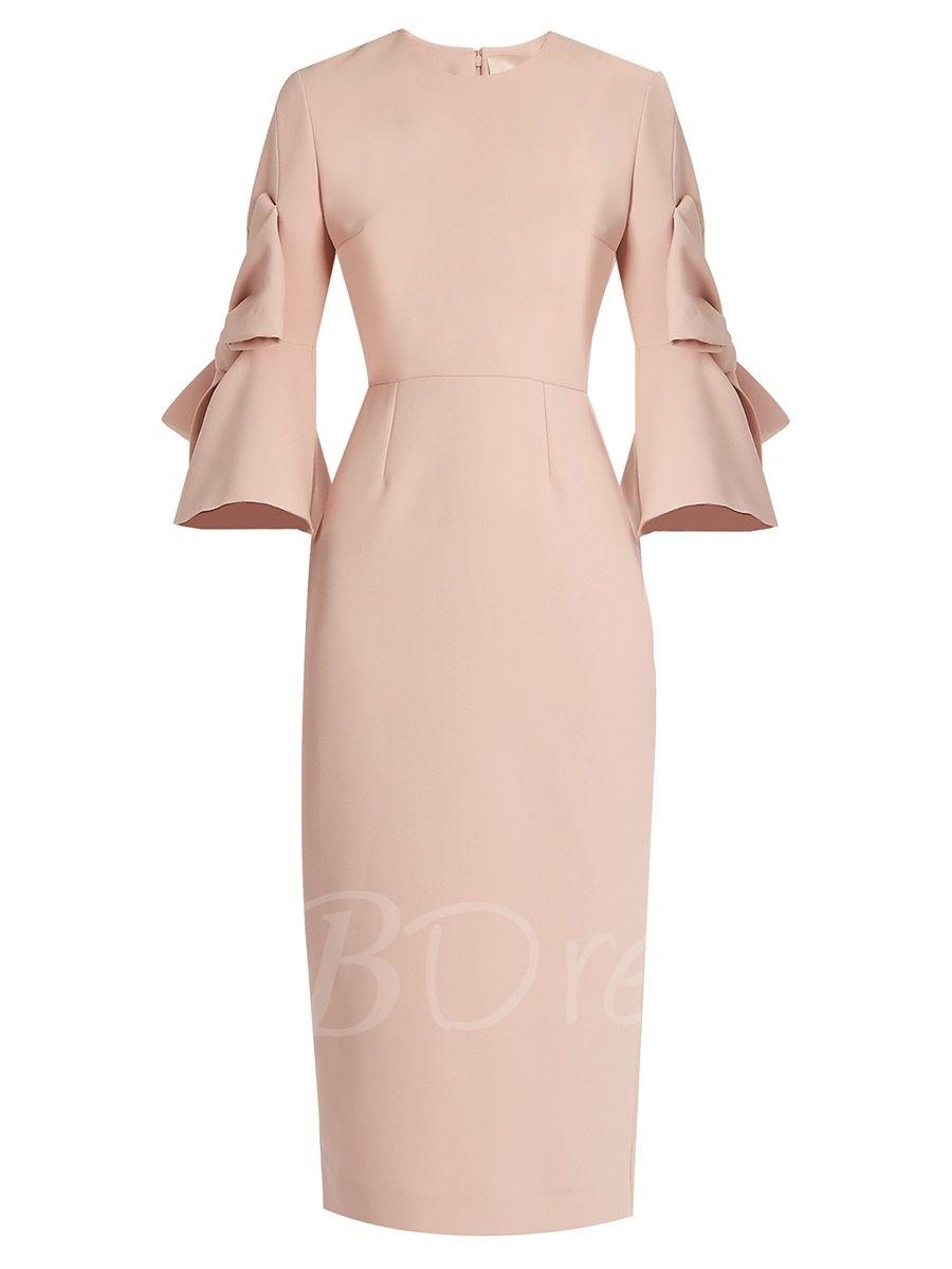 Plain Three-Quarter Sleeve Ruffle Sleeve Women\'s Bodycon Dress ...