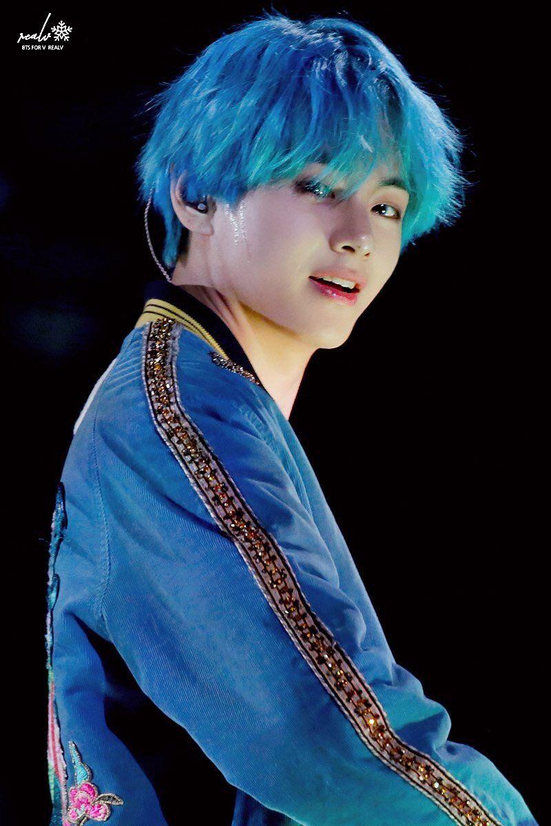 Image result for bts v blue hair