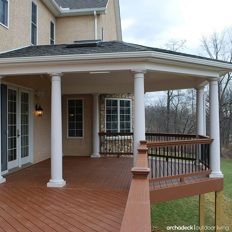 How About Building A Hip Roof To Cover Your Deck Structurally A Hip Roof Is The Most Complex To Build And Price W Rooftop Design Building A Deck Deck Design
