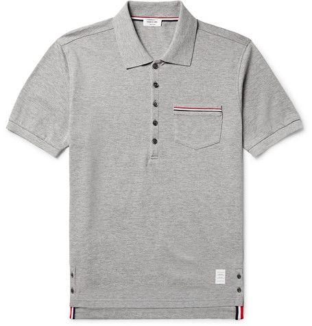 Short Sleeve Polo Shirt In Light Grey Pique Mens Designer Polo Shirts Designer Clothes For Men Pique Polo Shirt