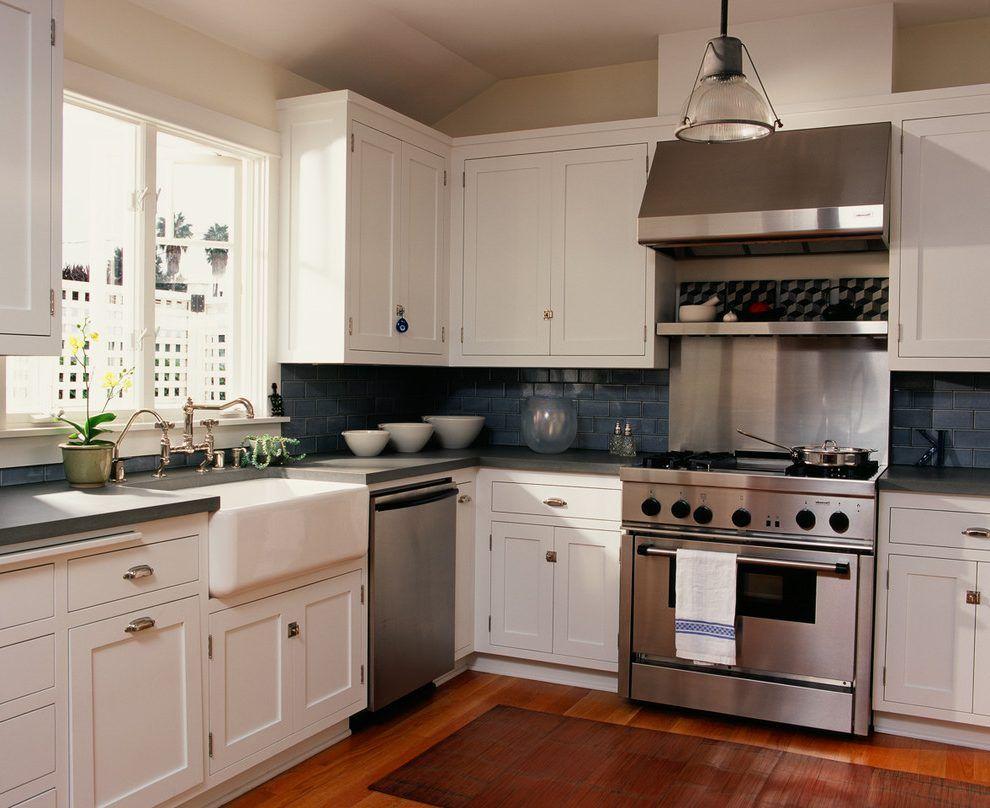 cobalt blue backsplash kitchen traditional with range hood range