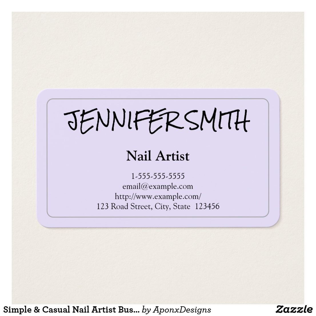 Simple & Casual Nail Artist Business Card