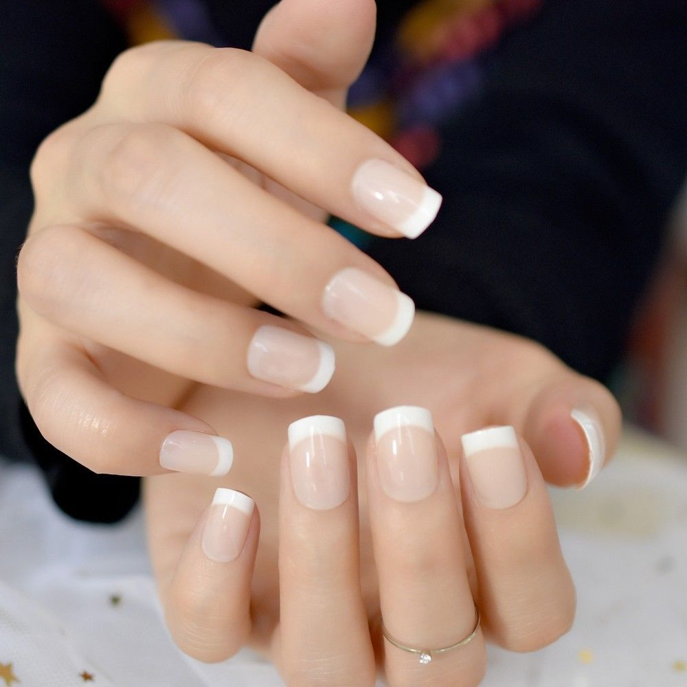 Light Nude Short Full Nail Art Tips White Squoval French Acrylic