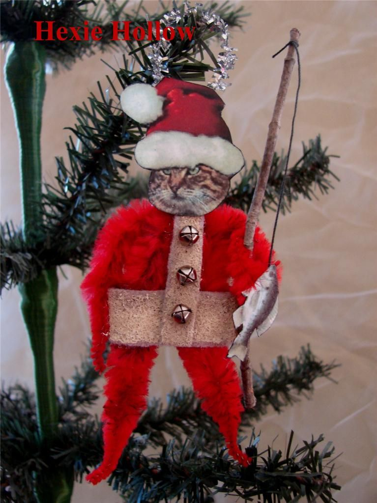 folk art primitive cat santa vintage type chenille christmas ornament handmade