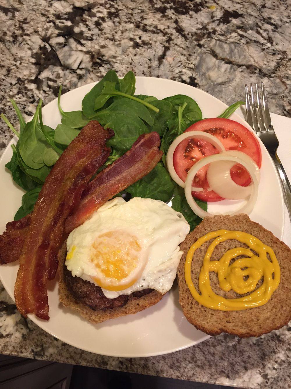 Bacon topped Elvis Burger (grass fed ground beef) on ...