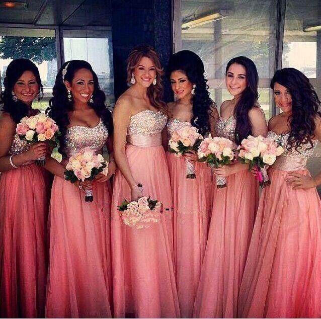 Brillante-Coral-dama-de-honor-larga-Vestidos-lentejuelas-con-cuentas ...