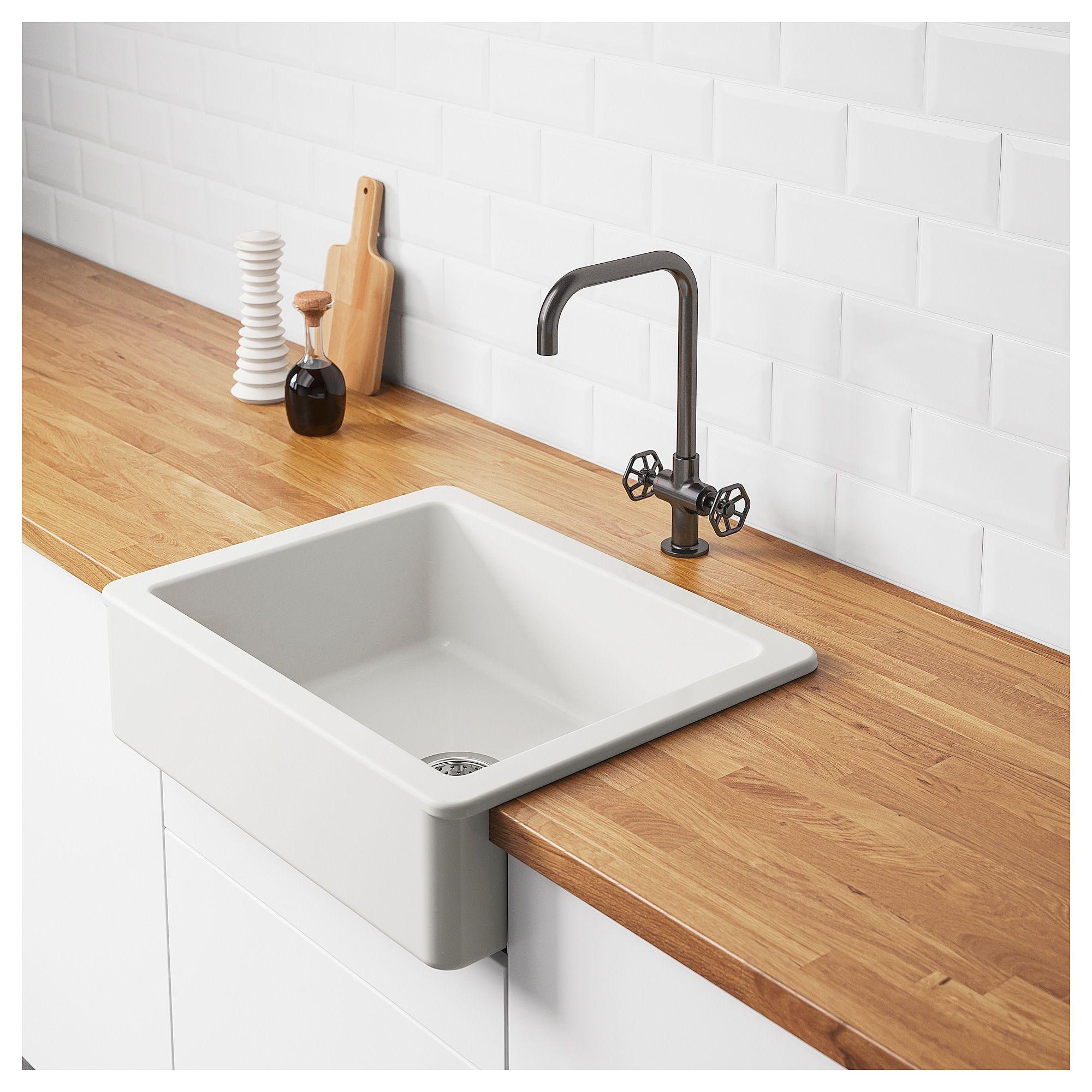 "HAVSEN Apron front sink white 25x19 "" Ikea sinks"
