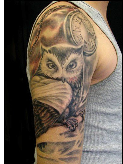 Owl Clock Tattoo Designs Clock And Owl Tattoos on Half ...