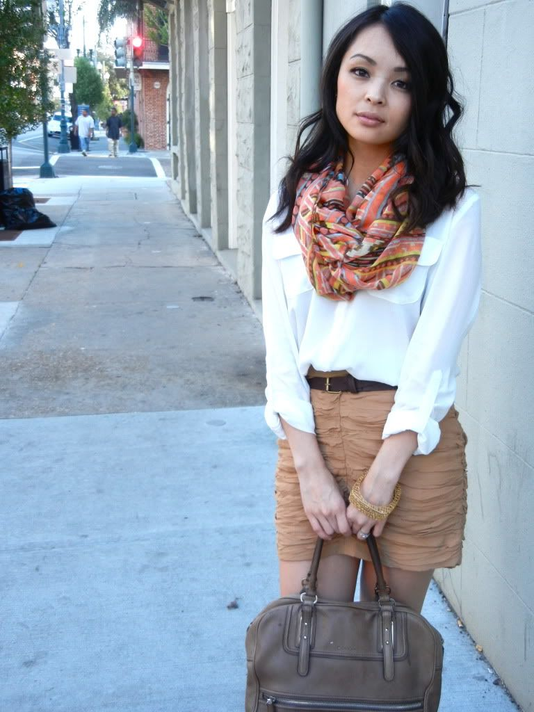 (Forever 21 blouse + scarf + shoes, H skirt, Calvin Klein bag, JewelMint bangle)