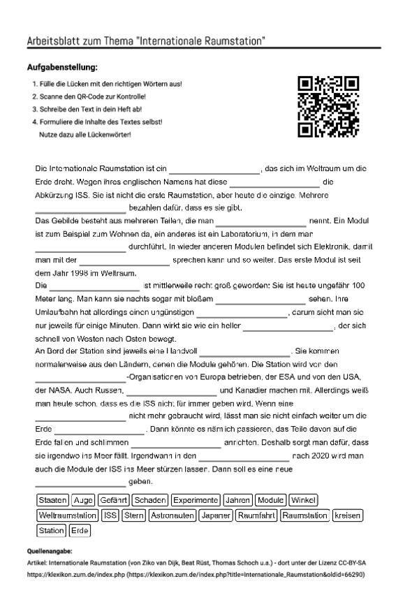 Groß Internationale Raumstation Arbeitsblatt Bilder - Arbeitsblätter ...