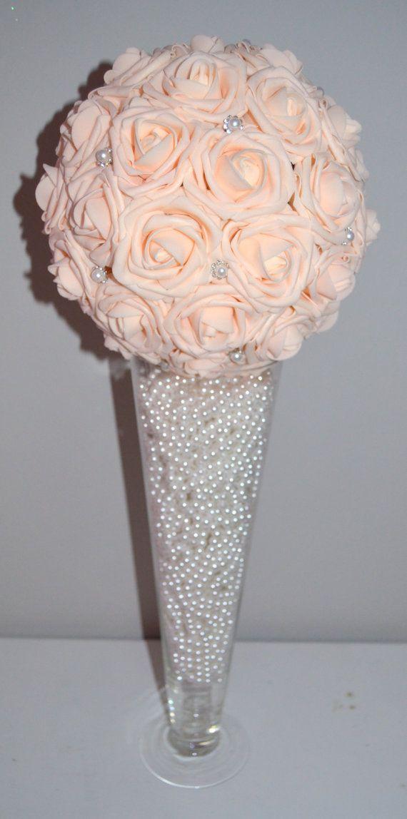 Pink blush bling pearl brooch elegant wedding foam flower
