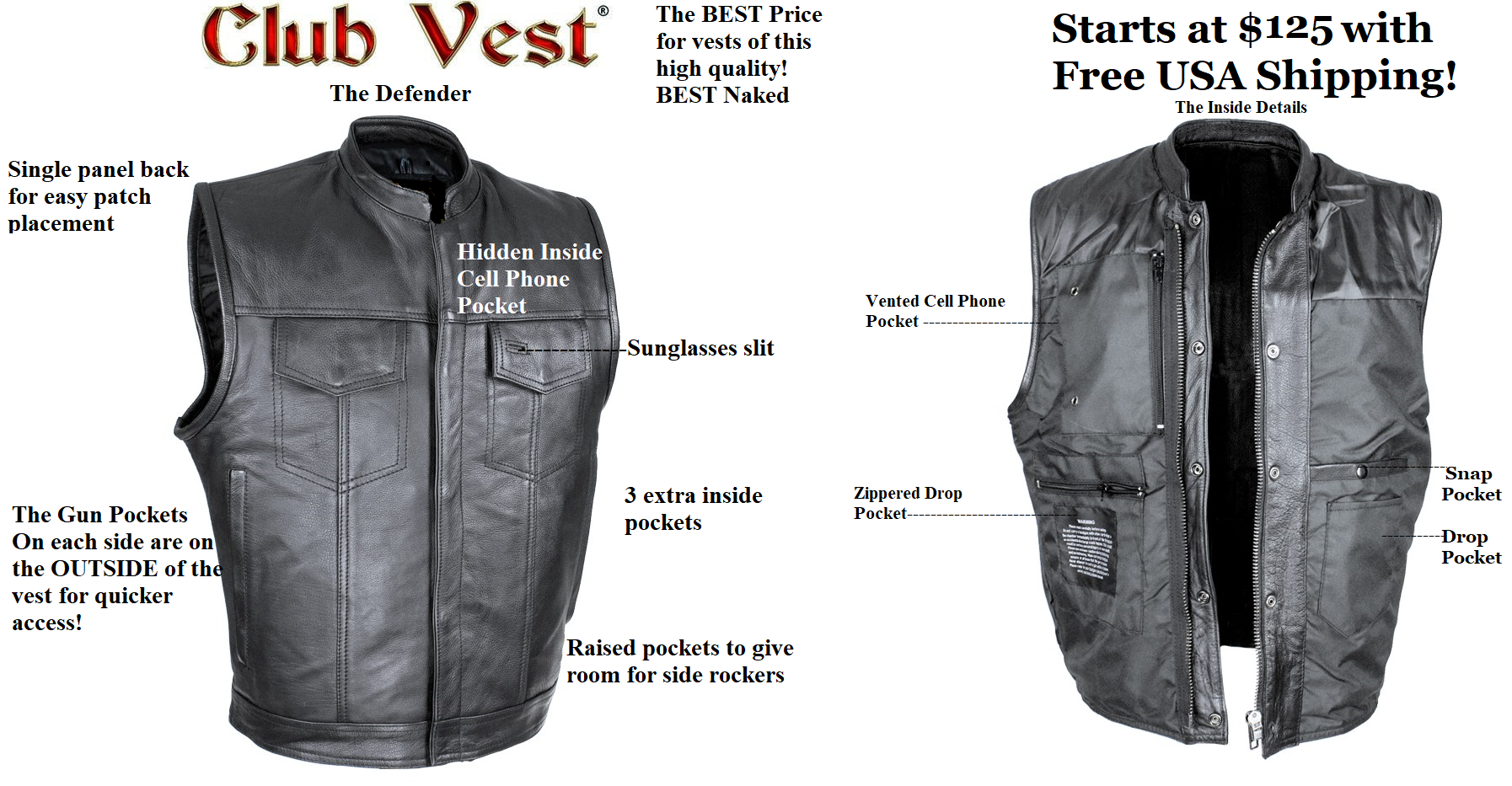 Men/'s SOA Leather Vest w// Dual Inside Gun Pockets 1 Panel Back for Club Patches