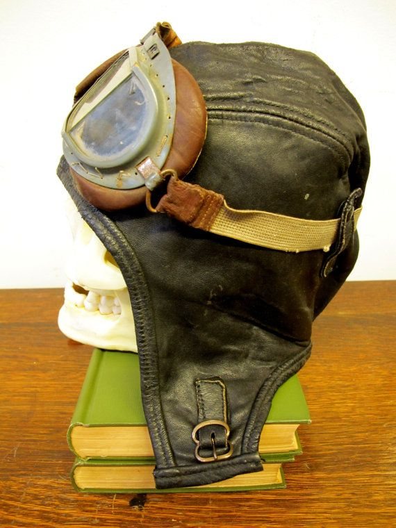 Wwii Leather Aviator Pilot Hat With Goggles Raf Aaf