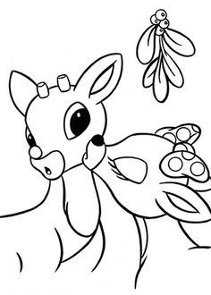 Clarice Kiss Rudolph The Red Nosed Reindeer Under The Mistletoe Coloring Page Rudolph Coloring Pages Christmas Coloring Pages Coloring Pages