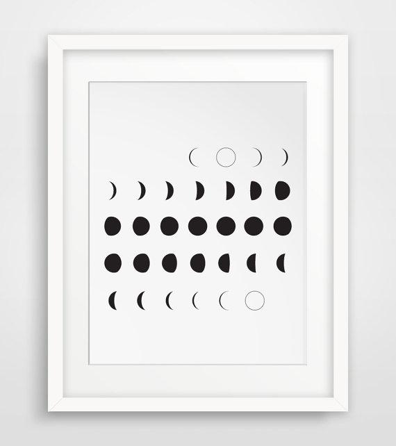 image regarding Black and White Printable Art named Moon Artwork, Moon Calendar, Printable Artwork, Moon Stages, Black