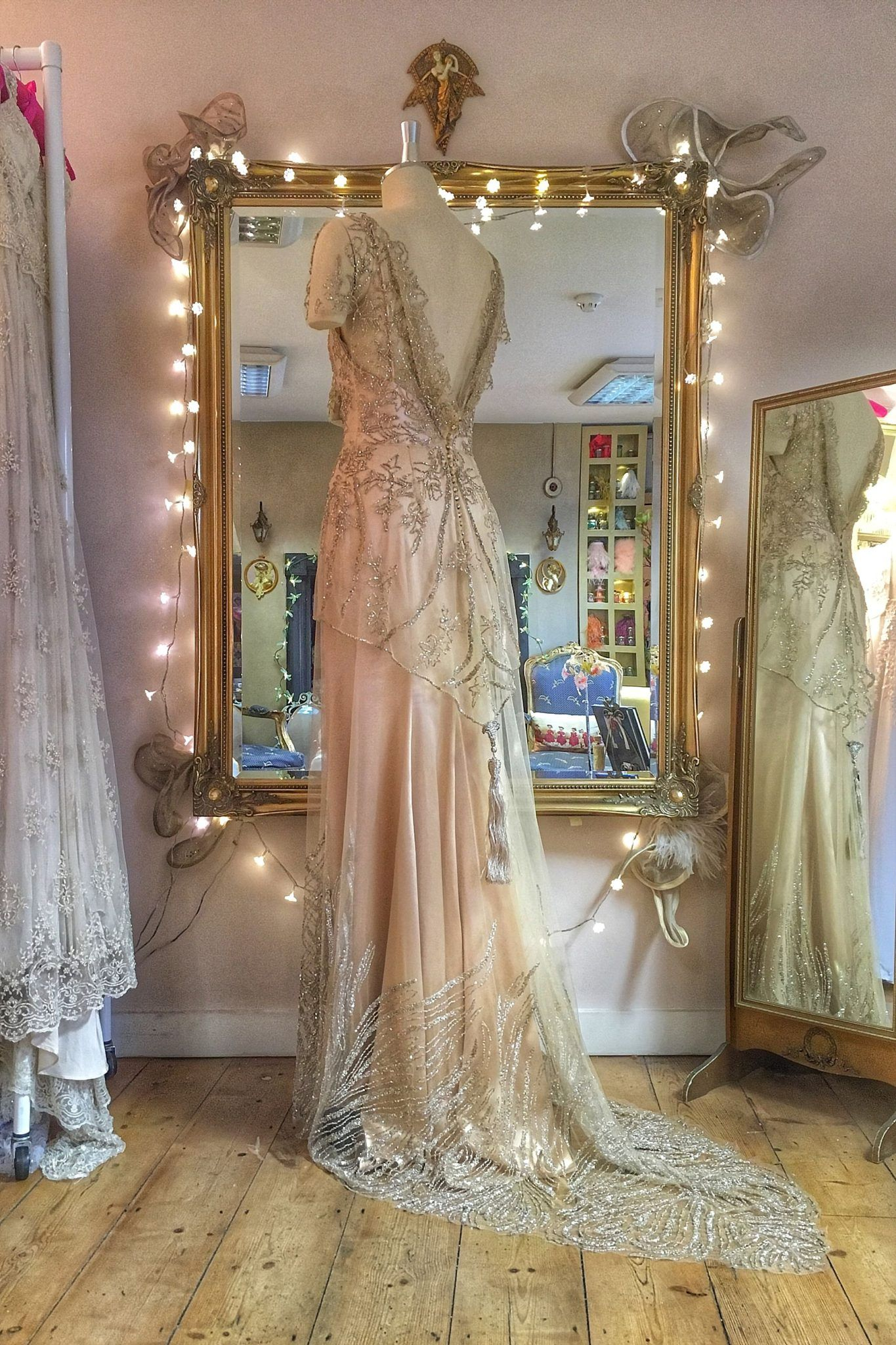 febc438f81d Beaded Tulle Couture Wedding Dress in pale gold and antique silver ...
