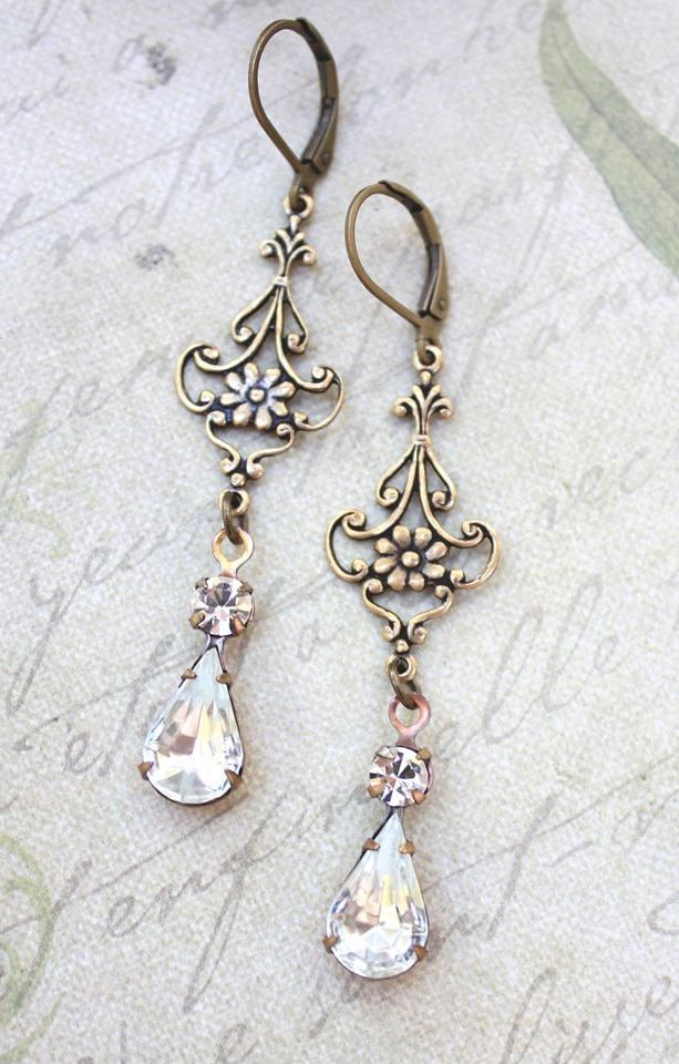 Long Filigree Earrings Crystal Glass Drops Antique Gold ...
