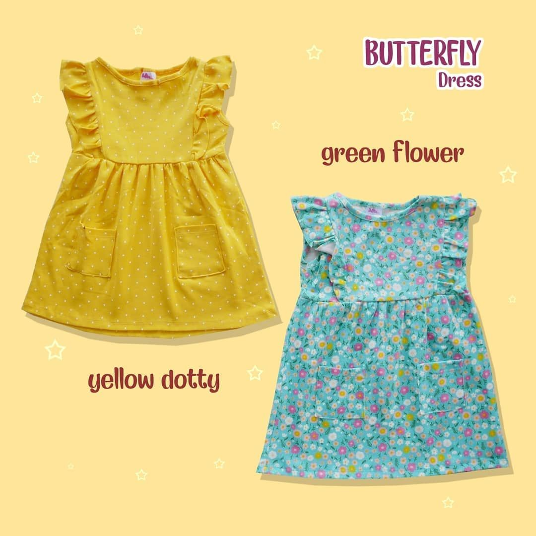 Butterfly Dress Dress Anak Perempuan Model Rempel Di Dada Sampai Lengan Dengan Dua Kantong Di Bawah Bahan Kaos Mix Butterfly Dress Green Dress Fashion